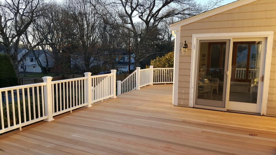Cedar Decking with Resalite Rails - Before
