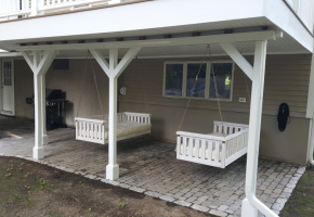 Under Deck Patio with Ceiling and Hanging Benches