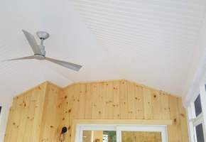 White Beadboard Ceiling with Natural Pine V-Groove Wall
