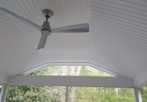 Clipped Cathedral Ceiling with Fan and Gable clear glass